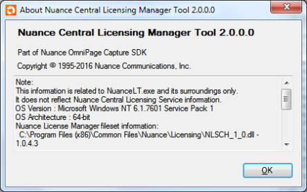 Nuance Central Licensing Tool